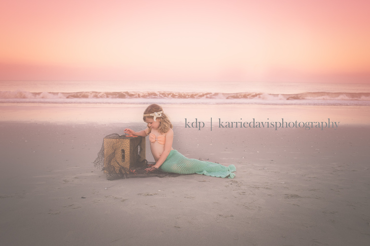 mermaid on the beach photo of child in mermaid outfit for a summer beach family session. South Jersey Family Photographer