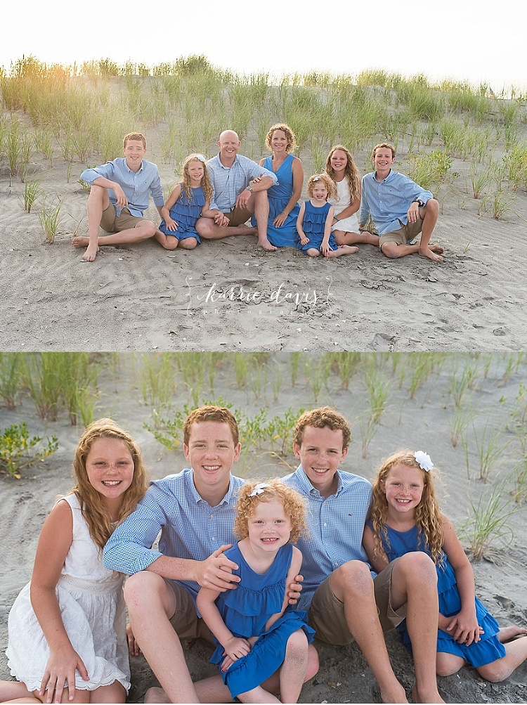 Shades of blue offer great outfit colors for family pictures.