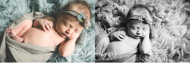 Photo of cute baby girl sleeping for her newborn photos in Smithville NJ