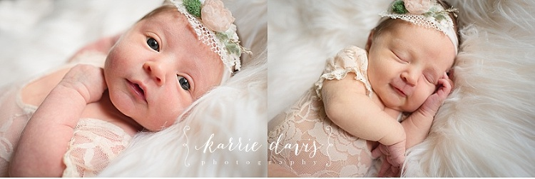 Photo of newborn baby girl with her eyes open for her newborn pictures photo shoot in Smithville NJ