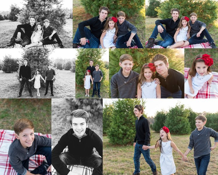 Holiday Family Photos in South Jersey at a Christmas Tree Farm. Love these kids outfits. Big brother with little sister and brother