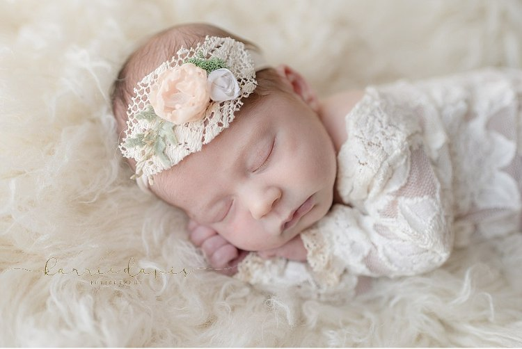 the cutest newborn baby girl outfit ever! love the lace dress and this floral lace head piece accessory, the cutest. South Jersey newborn photographer