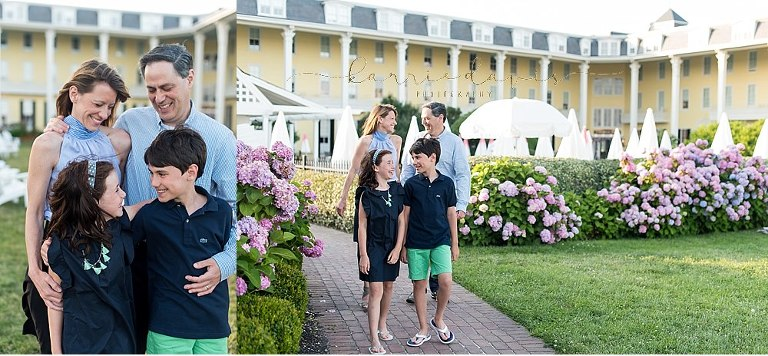 Family of four look classic in navy and mint.