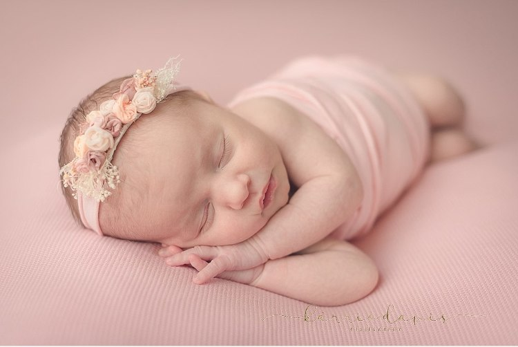 NJ Photographer captures sweet baby for newborn photos - pretty in pink