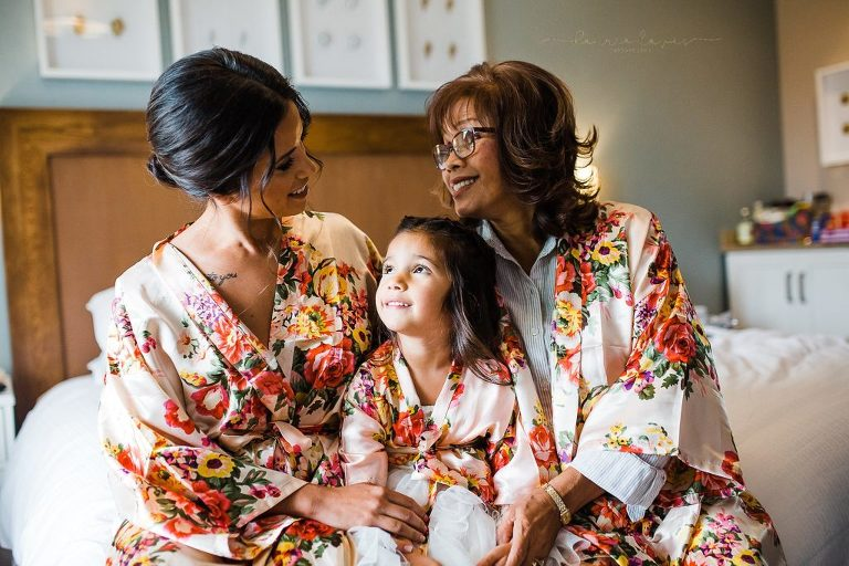 Silk robes for the bride, flower girl, and mother of the bride make a fun extra thought when getting ready for a wedding.