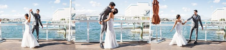 Wedding poses for a fun couple by the water.